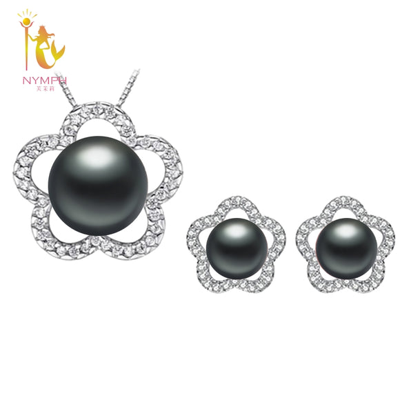 [NYMPH]Natural Pearl Jewlery Sets Real Freshwater Pearl Necklace Pendant Earrings