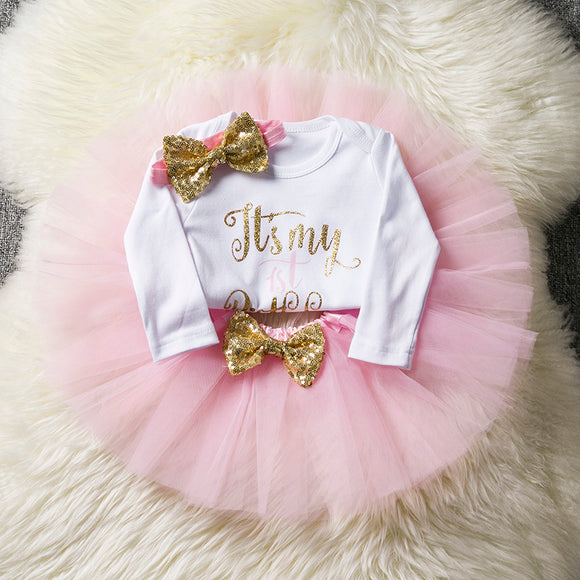 New Born Baby Girl Clothing Gold Bow Tutu Newborn Dress (Tops+Headband+Dress) Baptism Clothes - Beltran's Enterprise