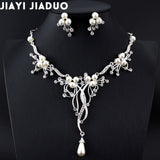 jiayijiaduo  2017 Imitation pearls Bridal Jewelry sets for Women Silver Color Rhinestone Necklace earring Sets - Beltran's Enterprise