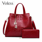 Alligator 2PC Purses Handbag Luxury Handbags Women Messenger Bags Casual Tote Bags - Beltran's Enterprise