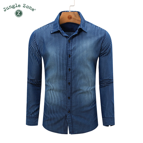 Hot PRODUCTS Long sleeve Men Casual Shirts  high quality Cowboy style Striped Print Shirt Blue - Beltran's Enterprise