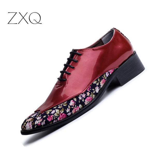 New 2017 Trend Fashion Pointed Toe Men Shoes Patent Leather Floral Pattern Oxfords Shoes - Beltran's Enterprise
