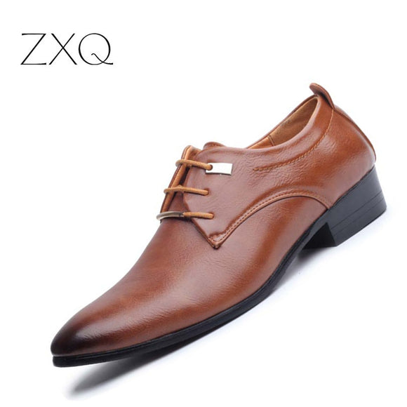 New 2017 Men Business Formal Dress Shoes Oxford Men Leather Shoes Lace-Up Pointed Toe British Style - Beltran's Enterprise