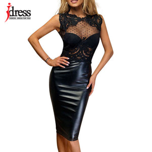 IDress Summer 2017 Latex New Robe Femme Sexy Sheer Lace Dress Open Back Patchwork Knee - Beltran's Enterprise