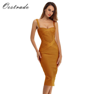 Ocstrade New Arrival 2017 Ginger Elegant Women's Midi Bandage Dress Rayon Sexy Spaghetti Strap Evening - Beltran's Enterprise