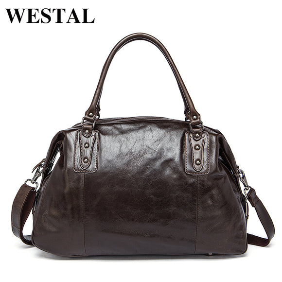 WESTAL Travel Bags Men Genuine Leather Vintage Bag Travel Duffle Totes Shoulder Bags - Beltran's Enterprise