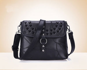 Genuine Leather Women Messenger Bags Rivet Patchwork Crossbody Bags - Beltran's Enterprise
