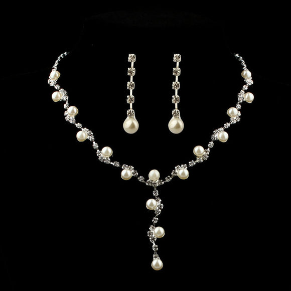 Prom Wedding Bridal Jewelry Crystal Rhinestone Necklace Earring Sets A - Beltran's Enterprise