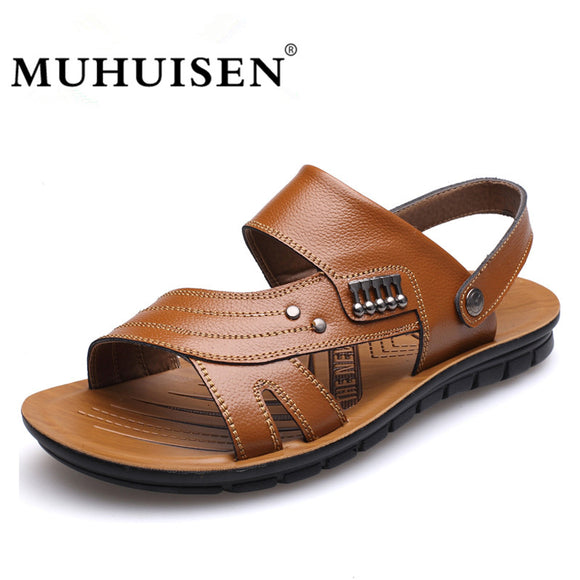 MUHUISEN Men's 100% Genuine Leather Sandals New Famous Brand Casual Men Slippers - Beltran's Enterprise