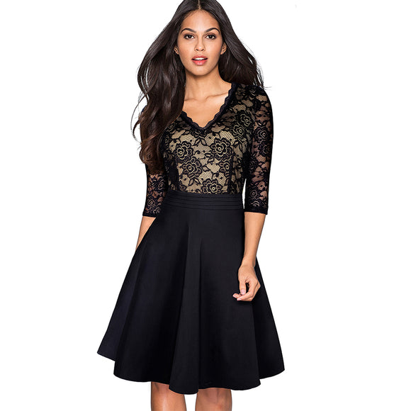 Women Elegant Vintage Lace See Through Sleeve Casual Party Special Occasion Work Office Tunic Pinup A-line Skater Dress EA062 - Beltran's Enterprise