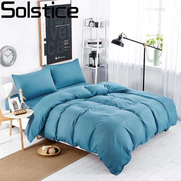 Solstice Home Textiles Solid Color Soft 3/4pcs Bedding Sets/Duvet Cover/bedspreads/bed Linen/ - Beltran's Enterprise