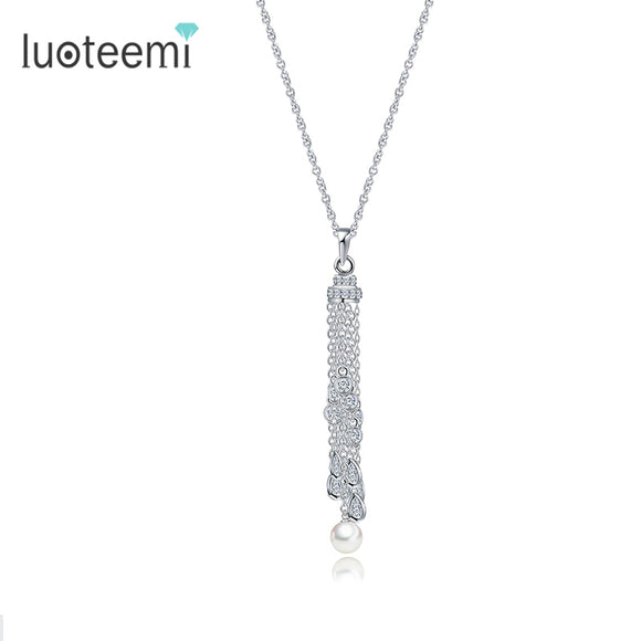 LUOTEEMI New Arrival Statement Jewelry Long Tassel Waterdrop CZ - Beltran's Enterprise