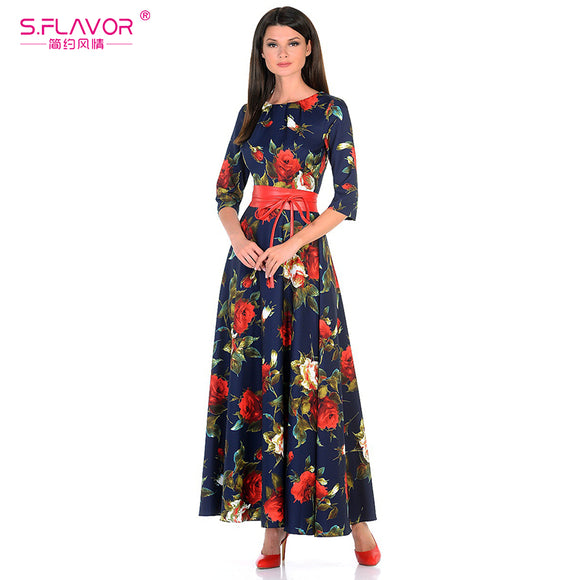 S.FLAVOR Women printing dress Autumn fashion Rose printing - Beltran's Enterprise