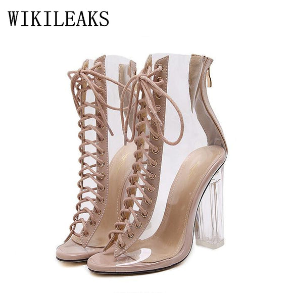 summer ladies jelly shoes gladiator sandals women designer luxury brand sexy extreme high heel sandals - Beltran's Enterprise