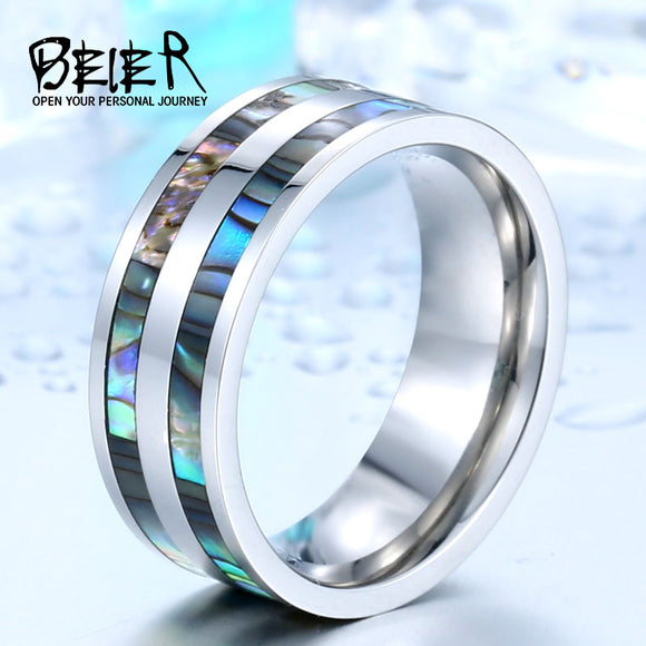 2017 New Stainless Steel Men Ring High Quality Real shell Fashion jewelry - Beltran's Enterprise