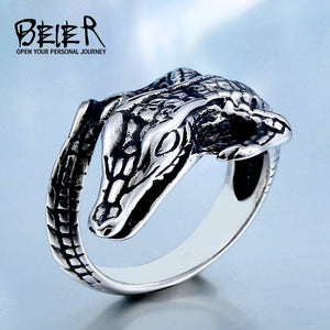 2017  Beier Store Stainless Steel  lizard Biker Animal Ring for man women Fashion Vintage Jewelry - Beltran's Enterprise