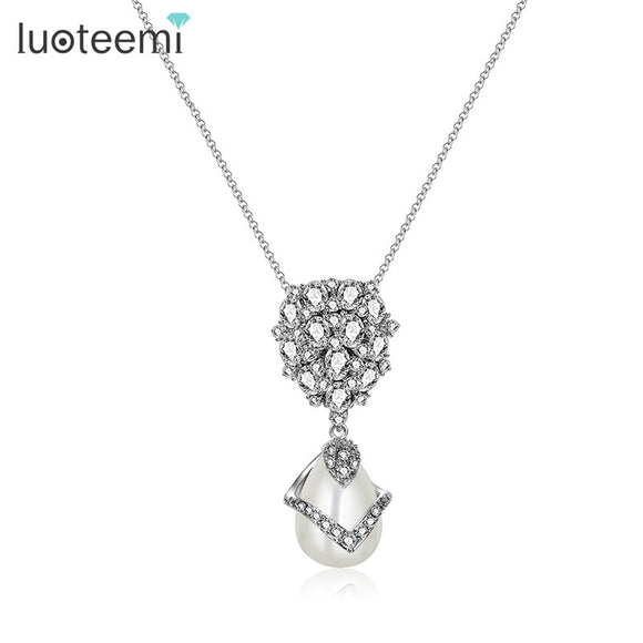 LUOTEEMI New Cute Design Simulated Pearl Pendant Shining Flower Tiny CZ Stone Necklace White Color Jewelry for Women Wedding - Beltran's Enterprise