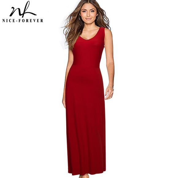 Nice-forever Solid Long Backless dress Sexy V-Neck Women Sleeveless beach Summer Holiday Bohemian Slim Maxi Casual Dress 317 - Beltran's Enterprise
