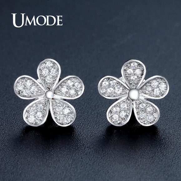 UMODE Cute Flower Shape Stud Earrings for Women White Gold Color Jewelry Fashion Blossom Boucle D'oreille Femme Christmas UE0321 - Beltran's Enterprise