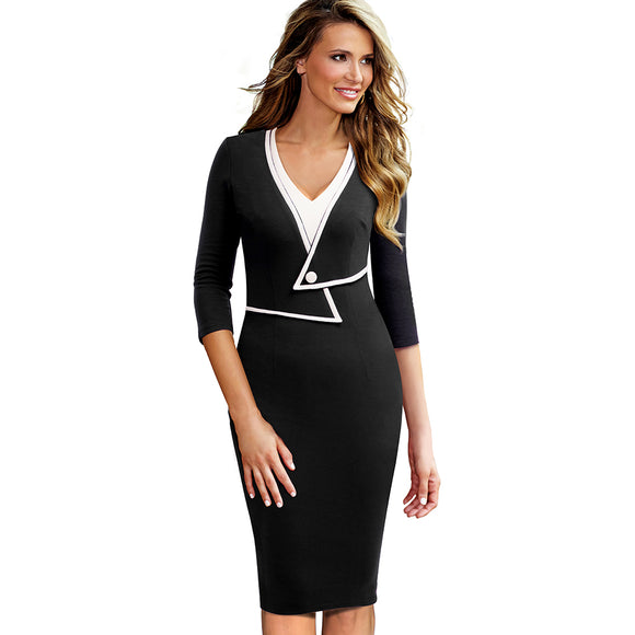 Women Vintage Brief Solid Patchwork Button Elegant Casual Work 3/4 Sleeve V-Neck Bodycon Autumn - Beltran's Enterprise