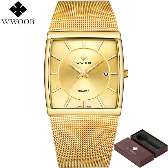 New WWOOR Brand Luxury Men Square Waterproof Gold Watch Men's Quartz Sports Watches - Beltran's Enterprise