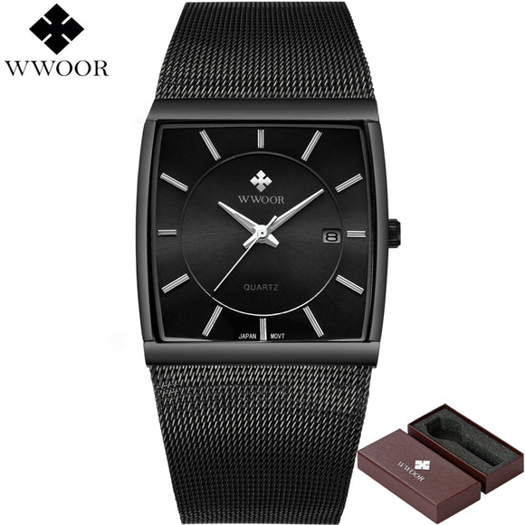New WWOOR Top Brand Luxury Men Square Waterproof Sport Watches Men's Quartz Steel Wrist Watch - Beltran's Enterprise