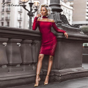 Ocstrade Womens Autumn Long Sleeve Bodycon Dress 2017 Clubwear Party  Burgundy Lattice Sexy Off Shoulder Bandage 5f02f2ad568a