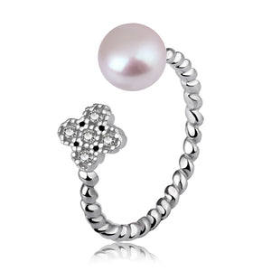 Half Round White Shell Pearl 925 Sterling Silver Adjustable Flower Twisted Ring - Beltran's Enterprise