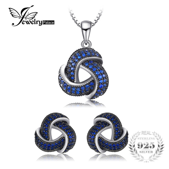 JewelryPalace 1ct Created Blue Spinel Flower Wraparound Cluster Pendant Necklace Stud Earrings - Beltran's Enterprise