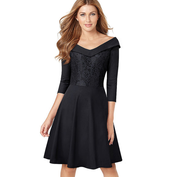 Women Elegant Lace Embroidery Floral Vintage Turn-Down Collar Slim Tunic Casual Work Party Fit Flare A-line Dress EA068 - Beltran's Enterprise