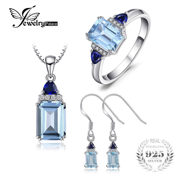 JewelryPalace 5ct Emerald Cut Sky Blue Topaz Created Sapphire Ring Drop Earrings Pendant Necklaces - Beltran's Enterprise
