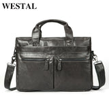 WESTAL Briefcase Men Leather Luxury Handbags Men Bags Genuine Leather Laptop Brown Designer - Beltran's Enterprise