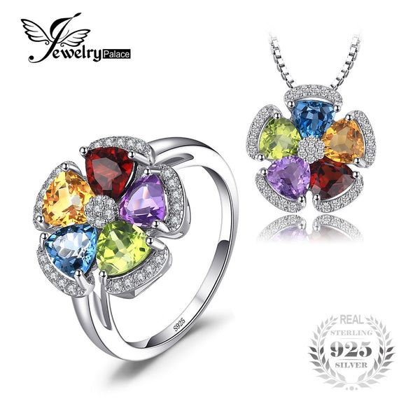 JewelryPalace 5.2ct Genuine Blue Topaz Amethyst Citrine Garnet Peridot Ring Pendant Necklaces - Beltran's Enterprise