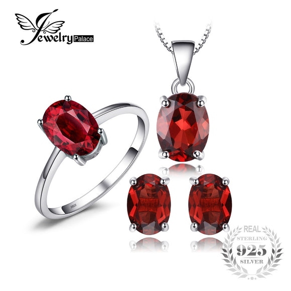 JewelryPalace 5ct Oval  Natural Gemstone Red Garnet Ring Earrings Pendant Necklace Pure 925 Sterling - Beltran's Enterprise