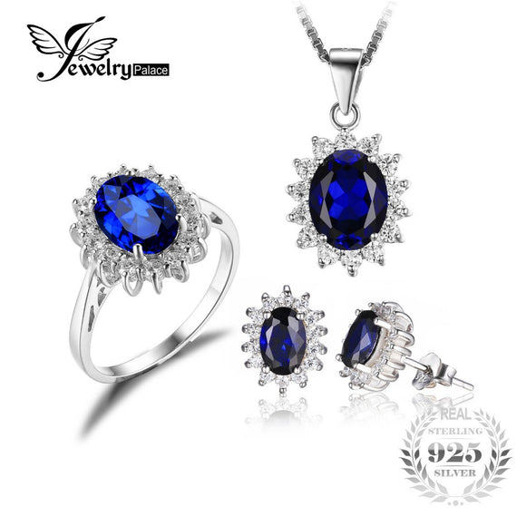 Diana William Engagement Wedding Created Sapphire Jewelry Set 925 Sterling Silver Ring Pendant - Beltran's Enterprise