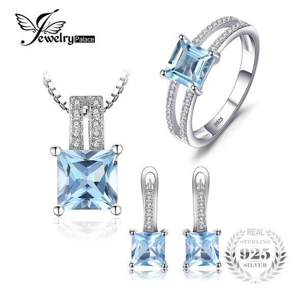 JewelryPalace 2.8ct Princess Cut Sky Blue Topaz Wedding Anniversary Ring Pendant Necklace - Beltran's Enterprise