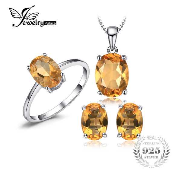 JewelryPalace 4.2 ct Natural Citrine Ring Earrings Pendant Necklace Jewelry Sets S925 Sterling - Beltran's Enterprise