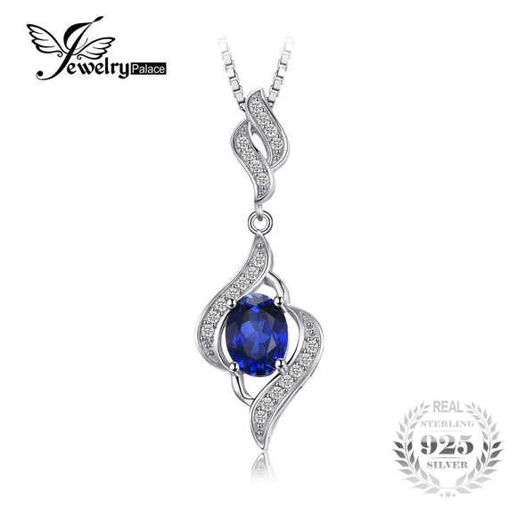 JewelryPalace 1.95ct Created Blue Sapphire Pendant Necklace 925 Sterling Silver - Beltran's Enterprise