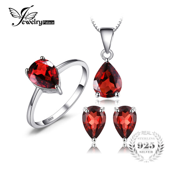 Jewelrypalace 5.4ct Natural Garnet Ring Earring Pendant Necklace Jewelry Sets Genuine 925 Sterling - Beltran's Enterprise