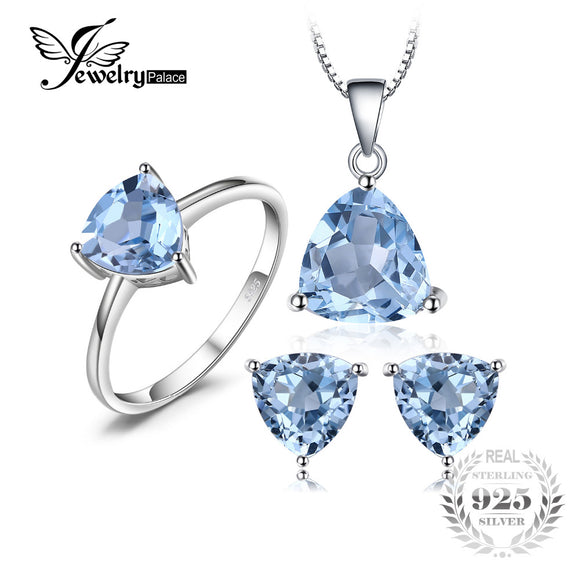 Jewelrypalace 5.4ct Natural Blue Topaz Ring Earring Pendant Necklace Jewelry Set Pure Genuine - Beltran's Enterprise