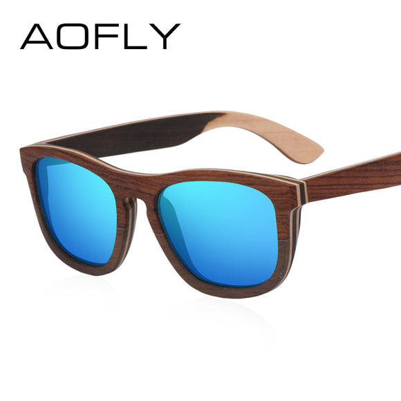 AOFLY BRAND DESIGN Men Sunglasses Polarized Mirror Lens Wooden Sun Glasses Classic - Beltran's Enterprise