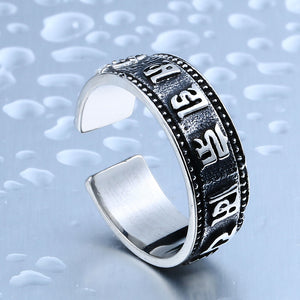 BEIER 316L Stainless Steel Men Buddhist Sutra Ring High Quality Opening Jewelry - Beltran's Enterprise