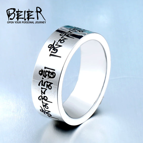 BEIER Fashion Men's High Polished Stainless Steel Buddhism Mantra Ring Bring Lucky Jewelry - Beltran's Enterprise