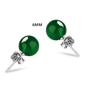 6-8mm Round Natural Green Agate Stud Earrings - Beltran's Enterprise