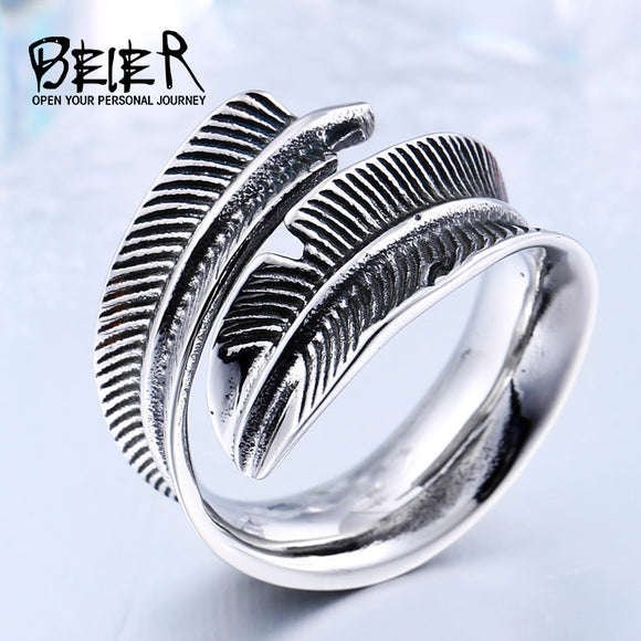 BEIER 2017 New Arrival Adjustable Feather Ring Stainless Steel VIntage Jewelry For Man Woman - Beltran's Enterprise