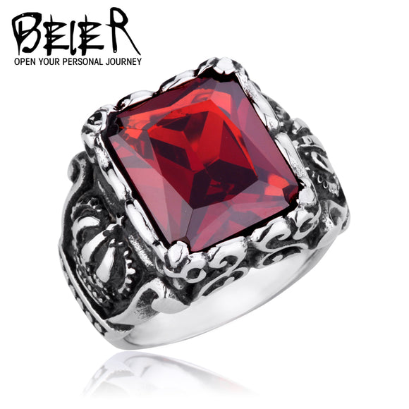 BEIER Men's CZ Stone Gothic Crown Rings Vintage Stytle  Stainless steel High Quality Jewelry - Beltran's Enterprise
