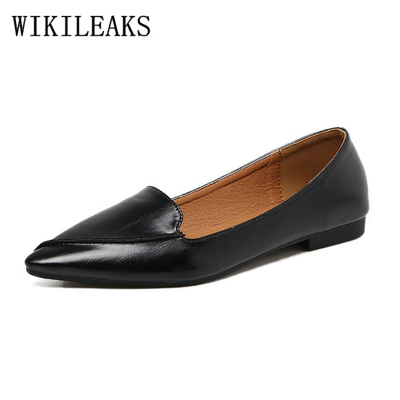 autumn women shoes	 sapato feminino leather harajuku shoes woman flat shoes women loafers designer - Beltran's Enterprise