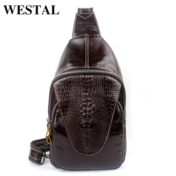 WESTAL 100% Genuine Leather Men Bags Hot Sale Alligator Pattern Man Pack Vintage Men Messenger - Beltran's Enterprise