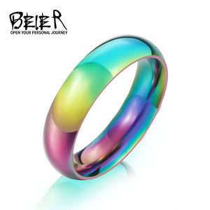 BEIER 2017 Rainbow Ring Men's New Brand Unique Hight Polished stainless steel Simple Jewelry - Beltran's Enterprise