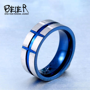 BEIER top quality blue scrub stainless steel ring simple style jewelry for man - Beltran's Enterprise
